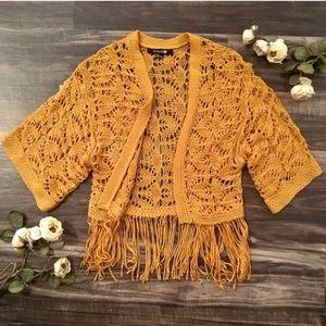 Forever 21 crochet fringe kimono